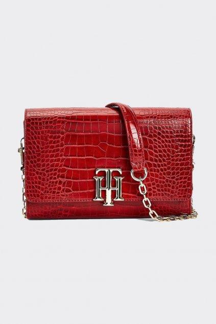 Tommy Hilfiger Croco crossover kabelka - červená