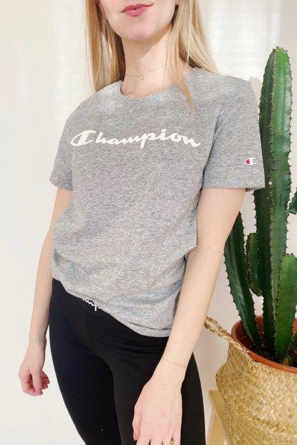 Champion dámské tričko velké logo - šedá