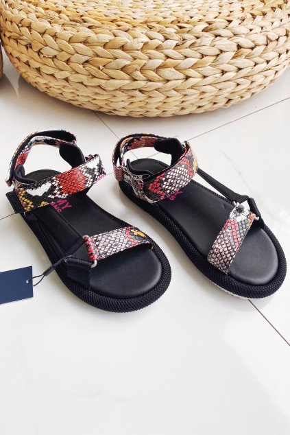 Tommy Jeans sandále dámské s hadím vzorem - černé