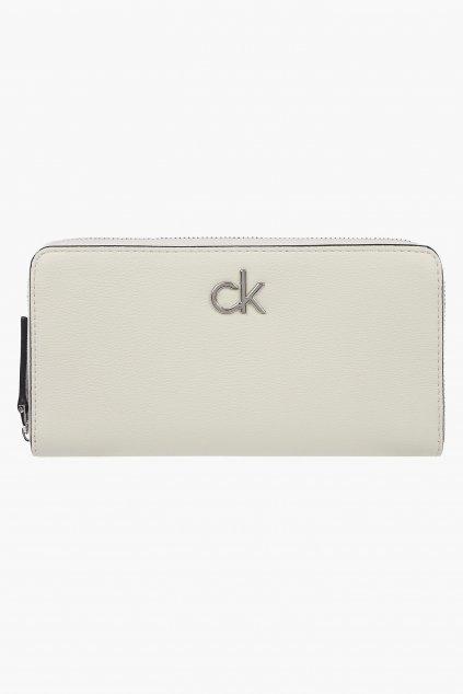 Calvin Klein large zip peněženka dámská - smetanová