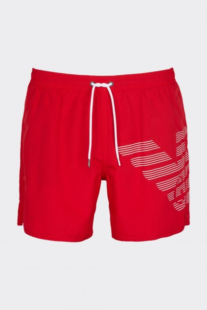 Emporio Armani pánské plavky s logem - červené