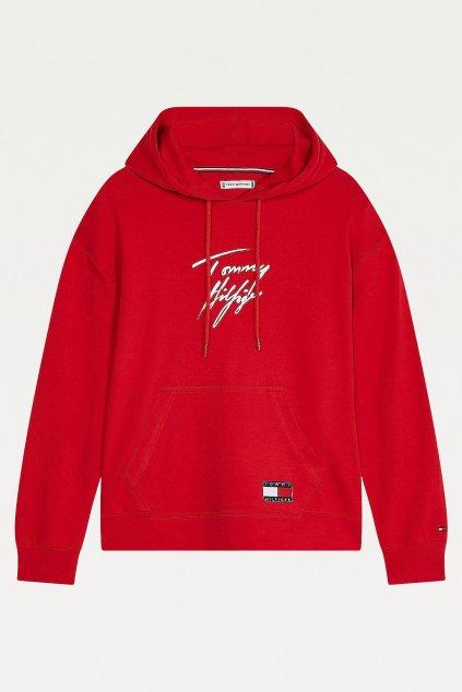 Tommy Hilfiger Signature mikina dámská z organické bavlny - červená