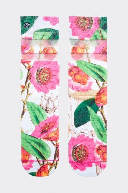 XPOOOS ponožky dámské havajské květy - bílá, růžová