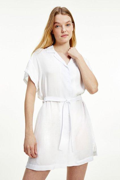 Tommy Hilfiger košilové šaty s viskózou- bílé