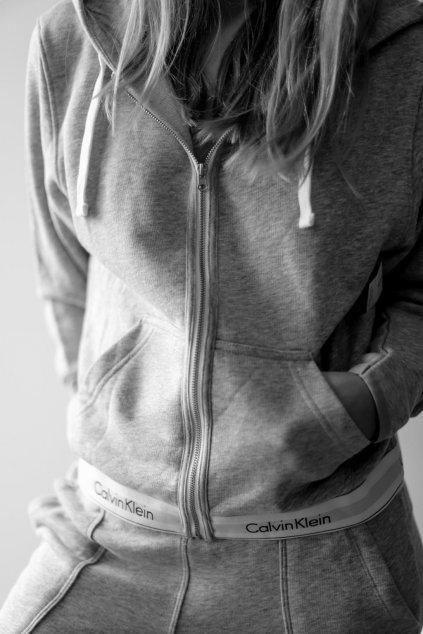 Calvin Klein Modern Cotton mikina na zip dámská - šedá (Velikost XS)