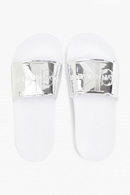 Calvin Klein Jeans pantofle dámské - stříbrné
