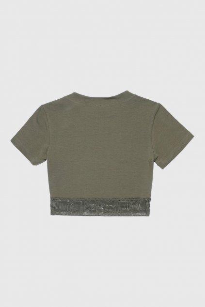 Diesel mesh crop tričko dámské - khaki