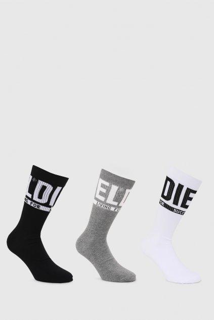 Diesel 3-balení unisex ponožek - šedá, černá, bílá
