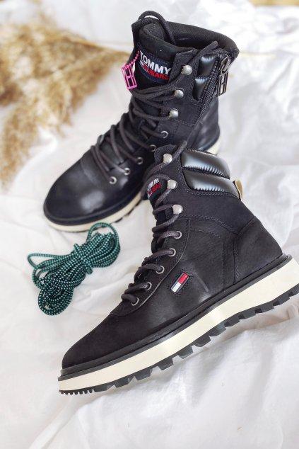 Tommy Jeans Lace-up Cleat boty dámské - černé
