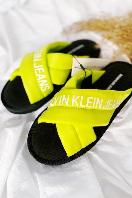 Calvin Klein jeans bačkory neonově žlutá