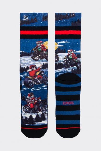 XPOOOS ponožky pánské - santa na motorce (Velikost 43/46)