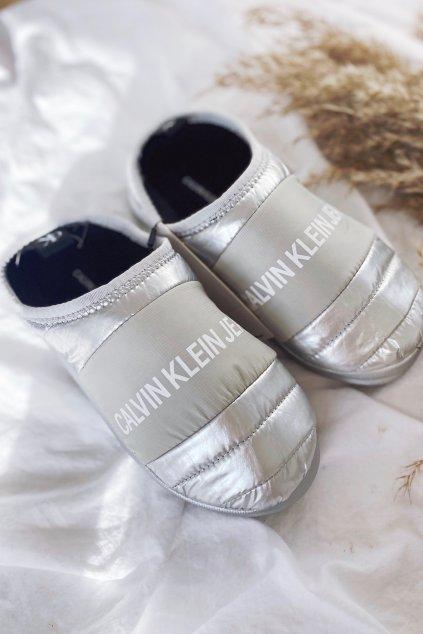 Calvin Klein Jeans bačkory dámské- stříbrná
