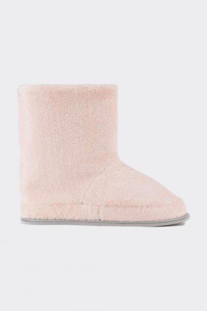 Emporio Armani Plyšové Fuzzy bačkory dámské - světle růžové