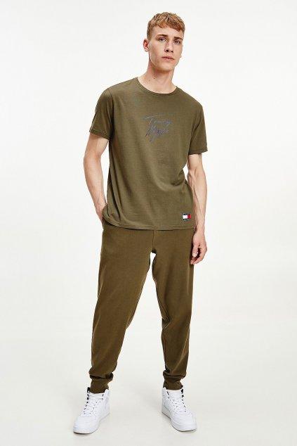 Tommy Hilfiger pánské tričko z organické bavlny - tmavě zelené