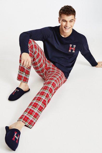 Dárkové balení Tommy Hilfiger pánské pyžamo a bačkory - tmavě modrá, červená