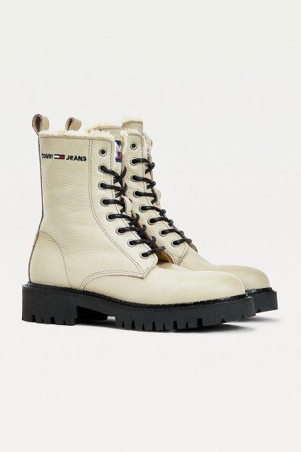 Tommy Jeans kožené Lace-up boots dámské - béžové