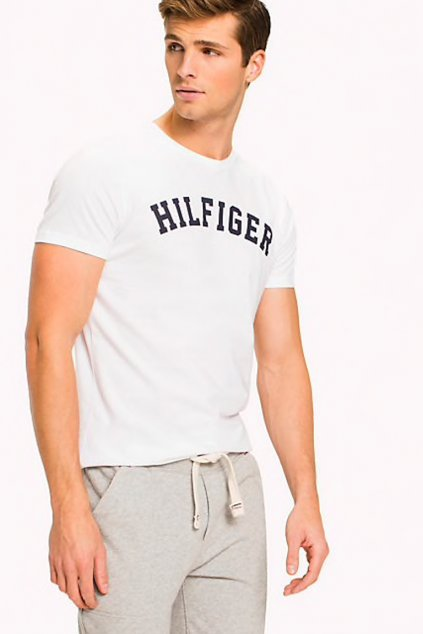 Tommy Hilfiger Pánské Logo Tričko - bílé