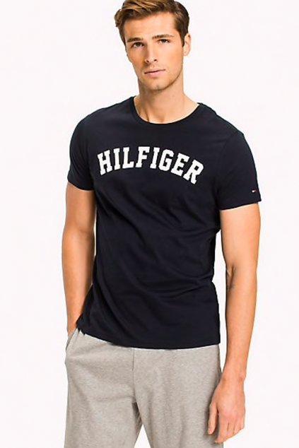 Tommy Hilfiger Pánské Logo Tričko - modré