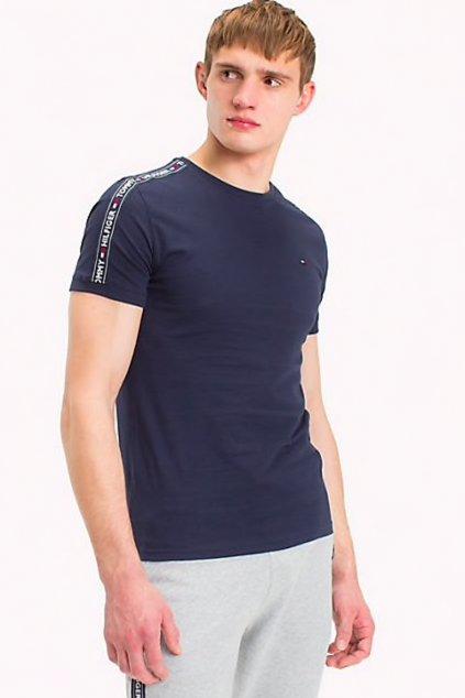 Tommy Hilfiger Logo Tape Tričko - tmavě modrá