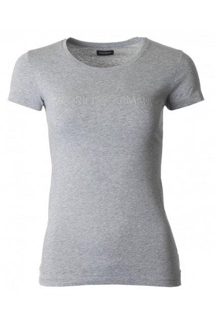 Emporio Armani Tričko Limited Pure Cotton Visibility logo - šedé