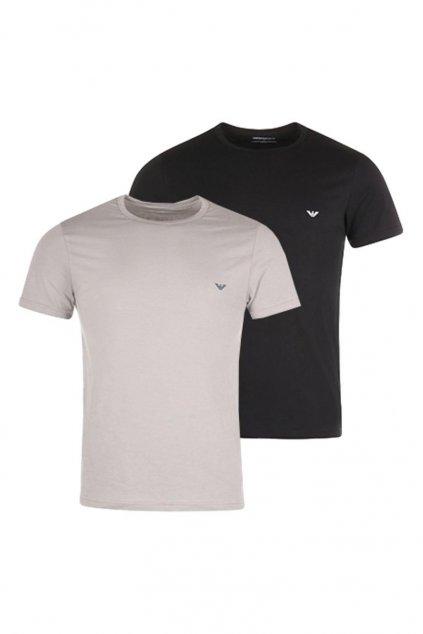 Emporio Armani Crew Neck trička 2-balení - černá/šedá