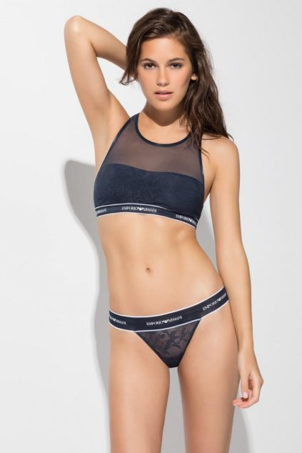 Emporio Armani Sporty Lace podprsenka  - modrá