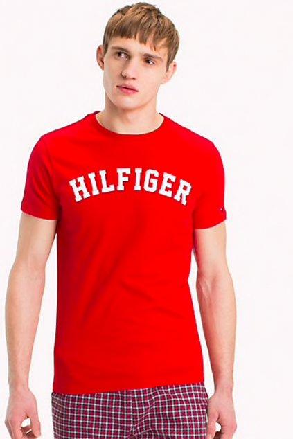 Tommy Hilfiger Pánské Logo Tričko - red