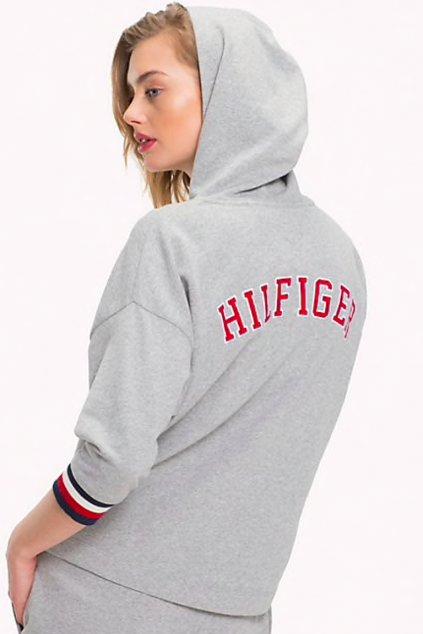 Tommy Hilfiger Logo Hoody Mikina - šedá