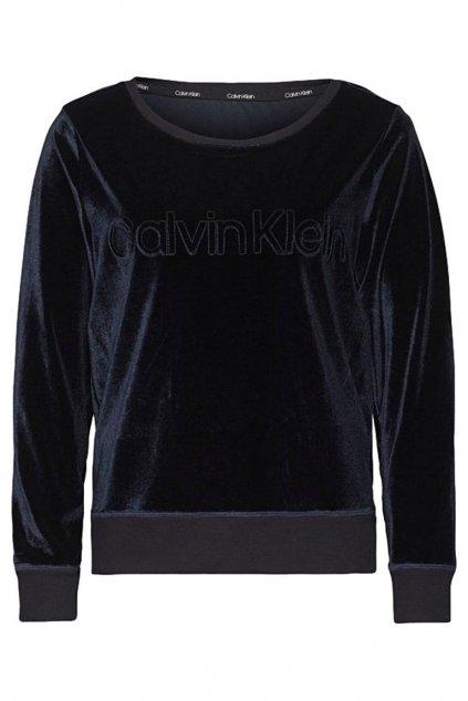 Calvin Klein Semišová logo Mikina dámská - tmavě modrá