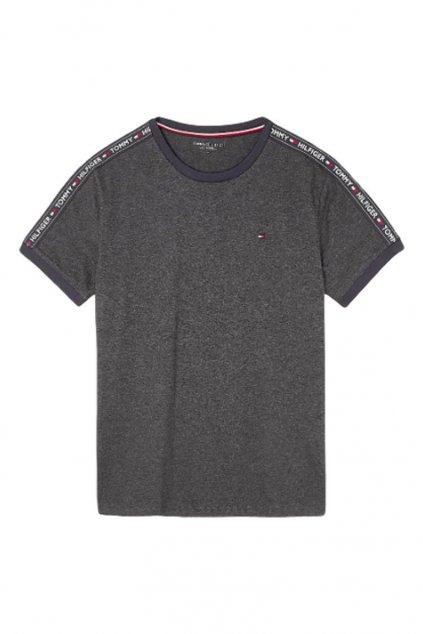 Tommy Hilfiger Logo Tape Tričko - šedá