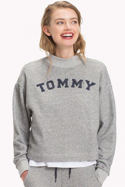Tommy Hilfiger Logo Mikina - grey/navy blazer