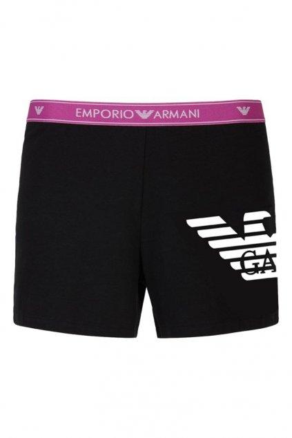Emporio Armani Logoband šortky - black/vivid purple