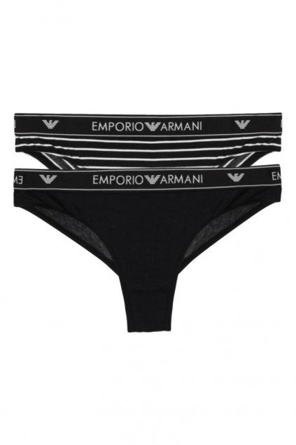 Emporio Armani LogoBand brazilky 2-balení - black/stripe