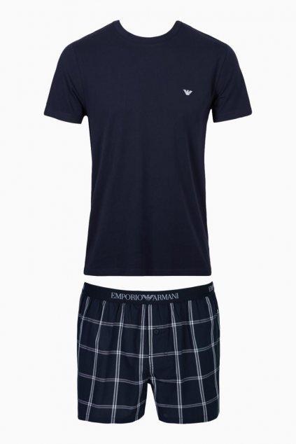Emporio Armani pyžamový set - marine check/white