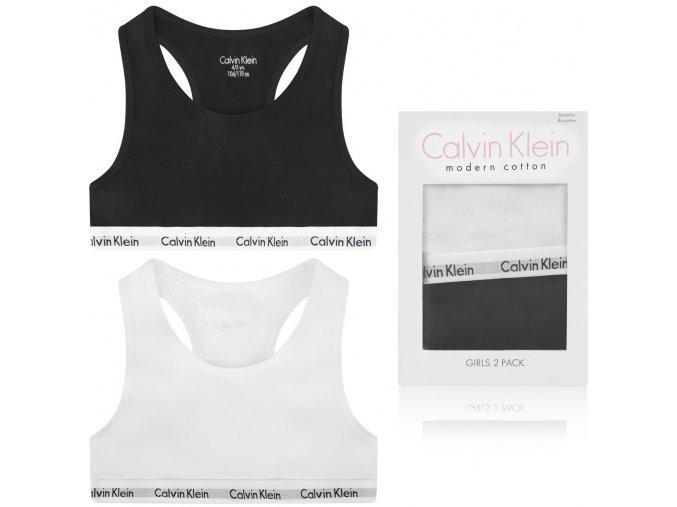 PRO DĚTI! Calvin Klein 2 balení Girls Bralette - černá/bílá