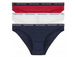 Tommy Hilfiger Iconic Cotton Bikini 3 - balení - červená/bílá/modrá