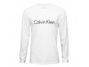 CK Logo Comfort Tričko dlouhý rukáv - bílé