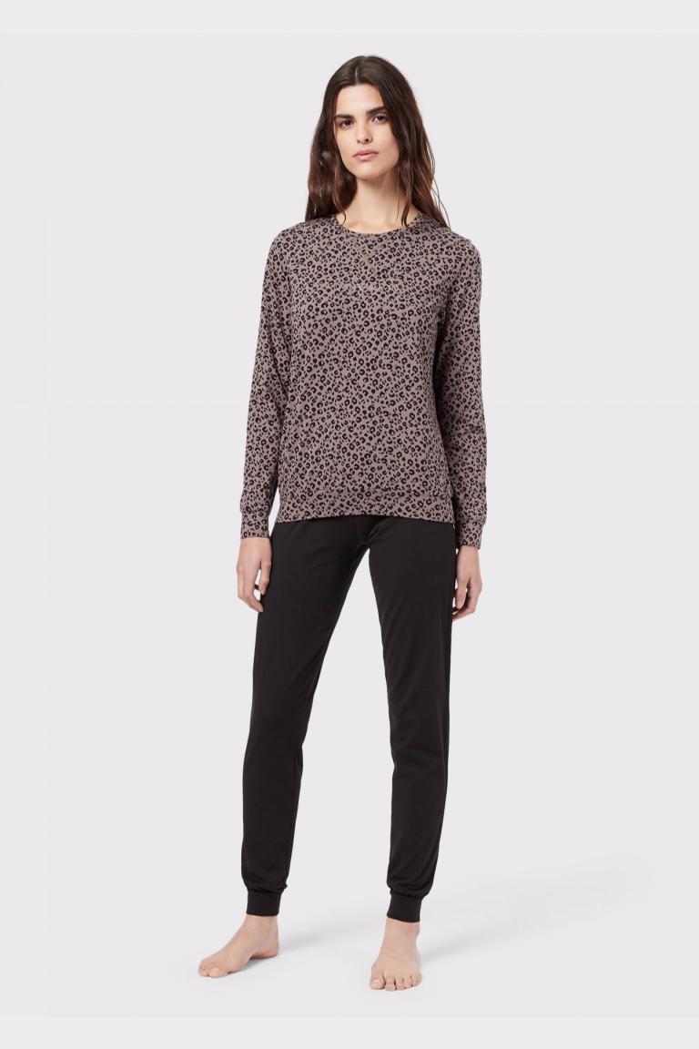 Emporio Armani Underwear Emporio Armani Fancy Cotton souprava mikina+tepláky - černá/leopard Velikost: M