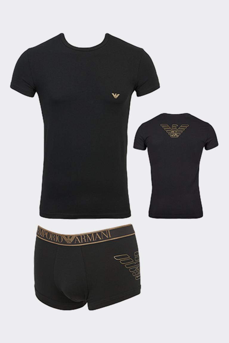 Emporio Armani Underwear Emporio Armani dárkové balení tričko + boxerky - černá Velikost: S