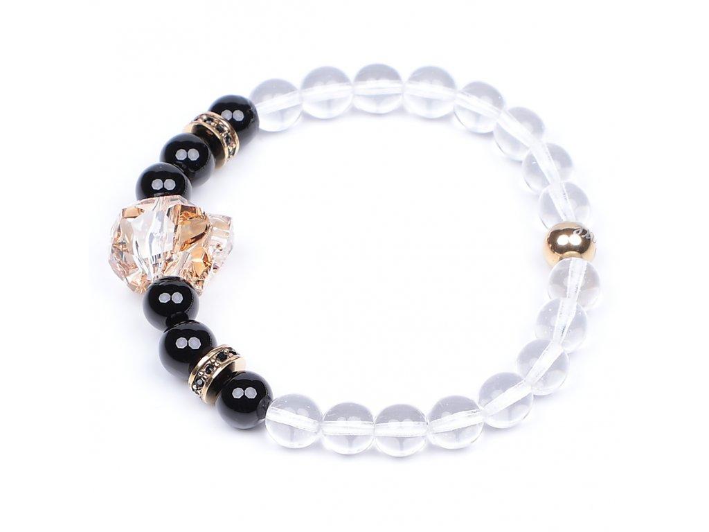Luxusní dámský korálkový náramek černý achát se Swarovski Premium Golden AAAAAA | Be Rare