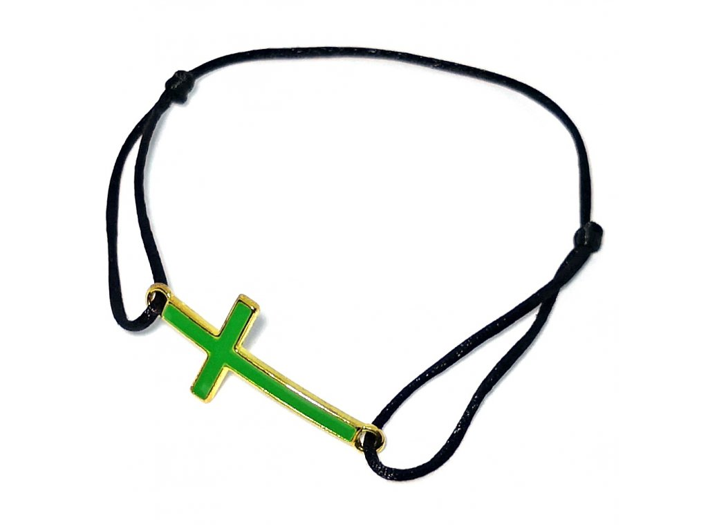 Šňůrkový náramek zelený kříž ve zlaté barvě