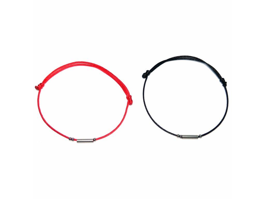 Náramky pro páry s trubičkou a korálky z chirurgické oceli  + Dárkový pytlík│Čistící hadřík