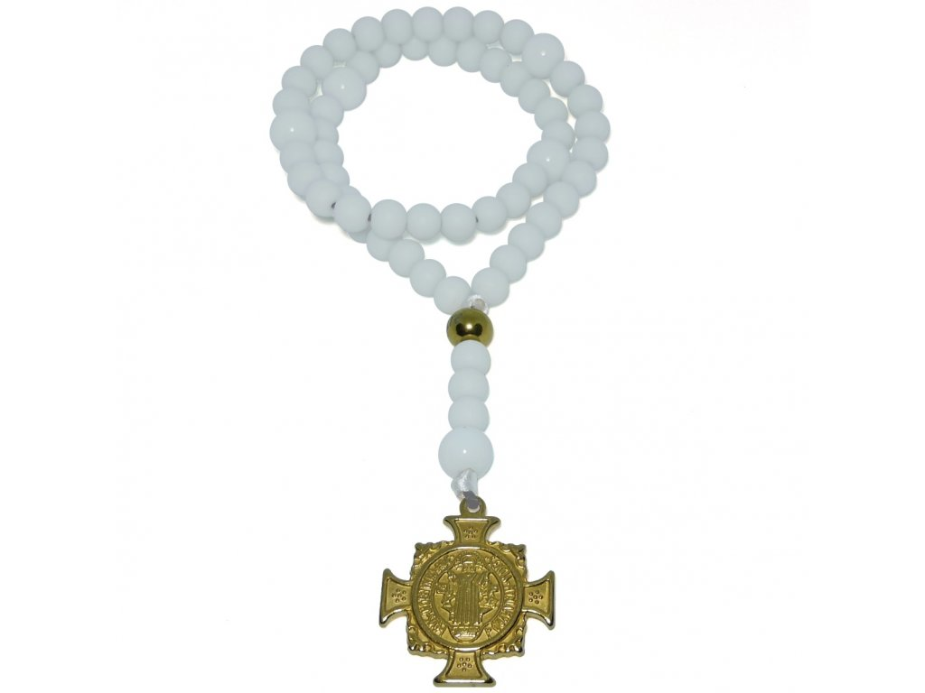 Růženec s medailí svatého Benedikta bílý