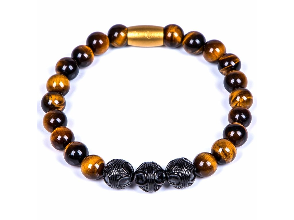 Luxusní dámský korálkový náramek Premium Tiger eye hnědé tygří oko AAAAAA chirurgická ocel černá zlatý prvek Be Rare