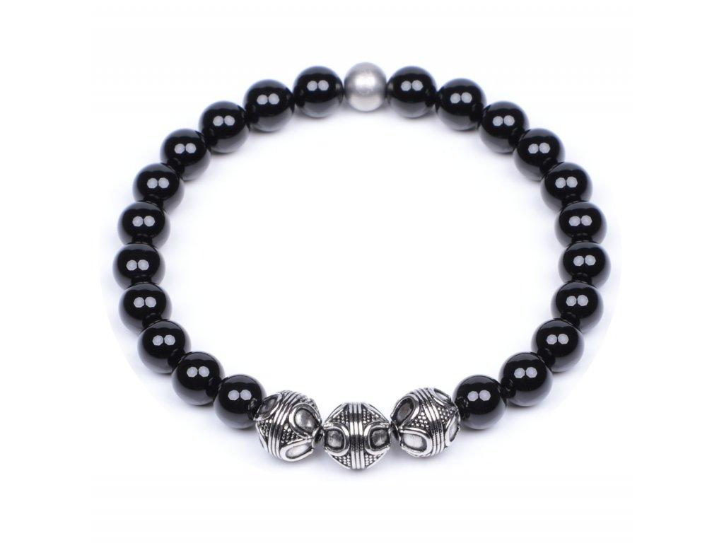 Luxusní pánský dámský korálkový náramek Premium Black Agate černý achát AAAAAA chirurgická ocel Be Rare