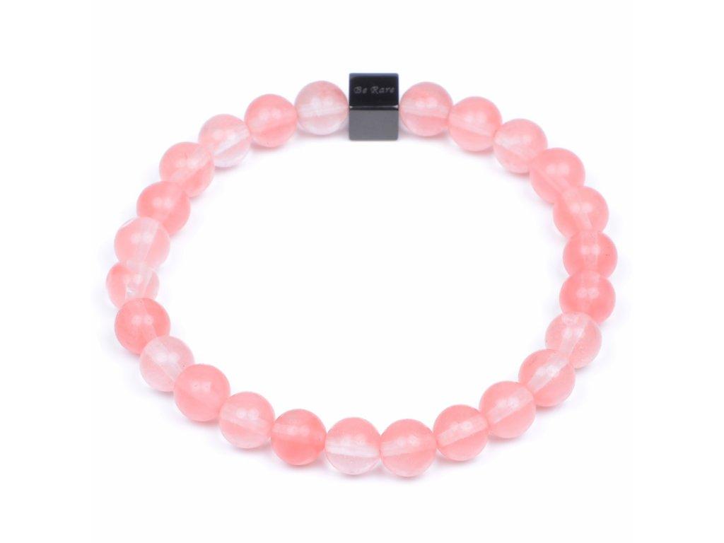 Luxusní dámský korálkový náramek Premium Premium Cherry Quartz AAAA třešňový křišťál Be Rare