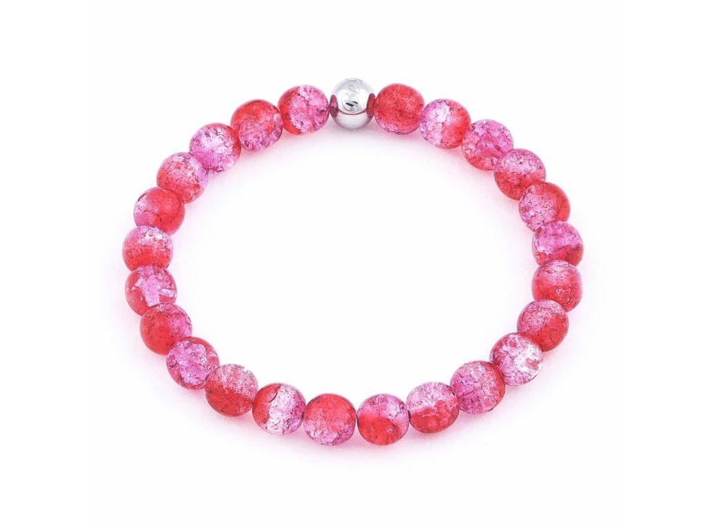 Luxusní dámský korálkový náramek růžový práskaný Simple Pink Crack Be Rare