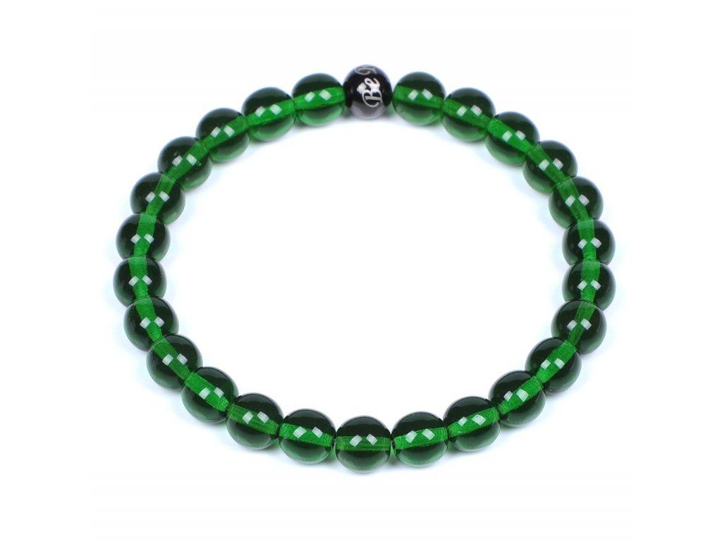 Luxusní dámský korálkový náramek Simple Green zelený sklo Be Rare