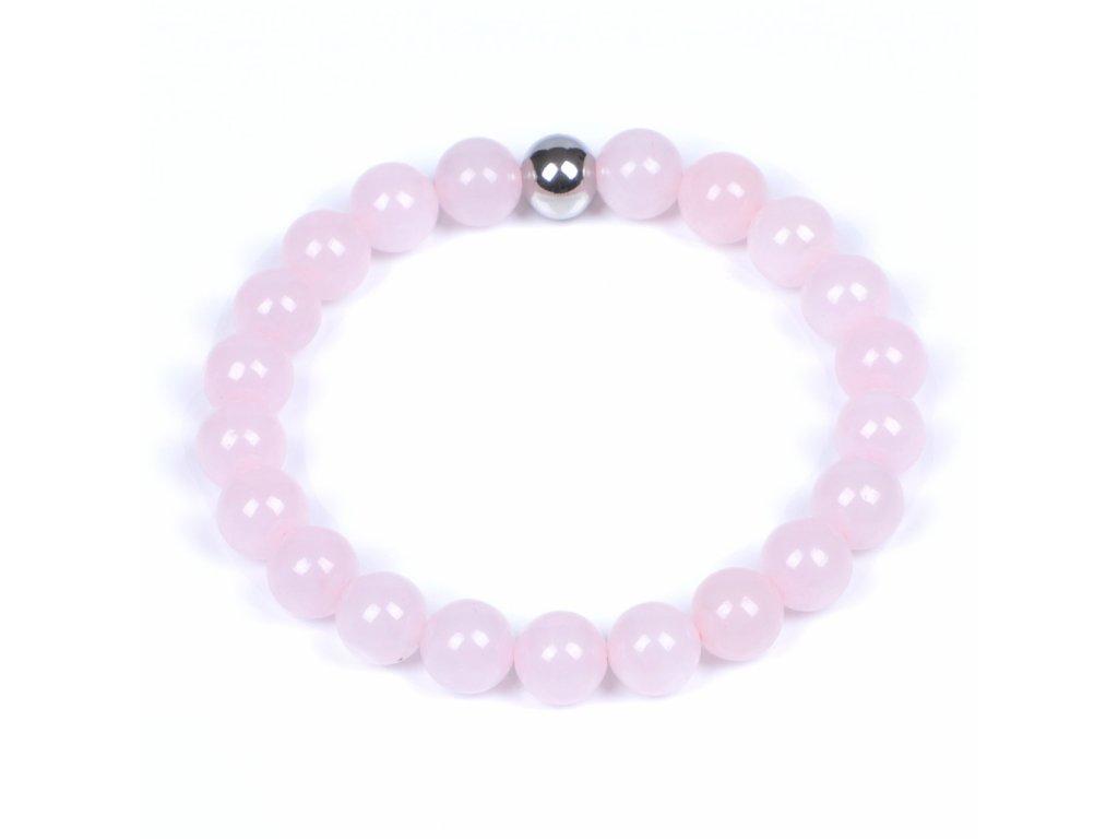 Luxusní dámský korálkový náramek růženín Simple Pink Be Rare růžový