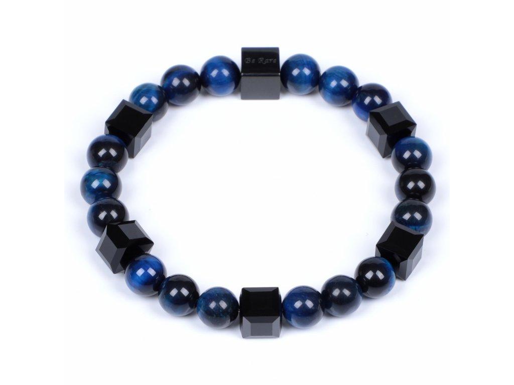 Luxusní pánský korálkový náramek Premium Dark modré tygří oko AAAAAA se Swarovski Be Rare
